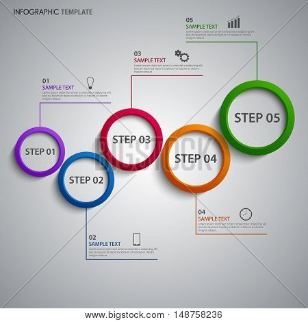 Info graphic with colorful abstract design rings template vector eps 10