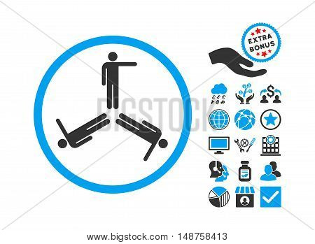 Pointing Men pictograph with bonus pictures. Glyph illustration style is flat iconic bicolor symbols, blue and gray colors, white background.