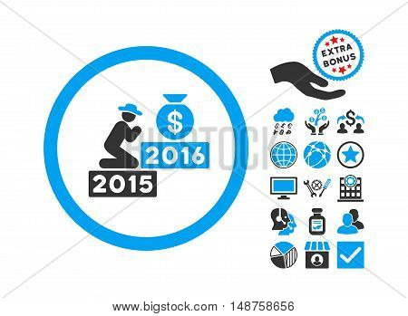 Pray for Money 2016 icon with bonus pictogram. Glyph illustration style is flat iconic bicolor symbols, blue and gray colors, white background.