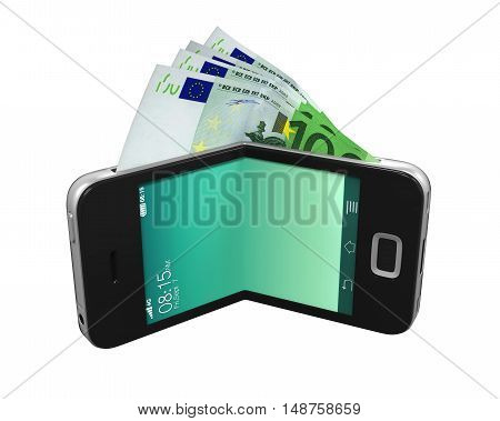 Digital Wallet Concept isolated on white background. 3D render