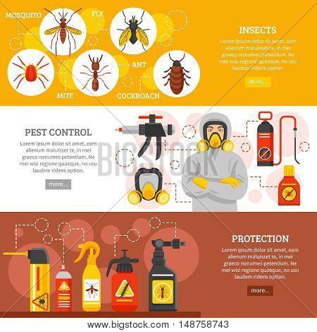Pest control horizontal banners with insects icons repellent spray cans collection exterminator in protective equipment and uniform flat vector illustration