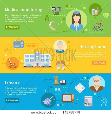 Elderly care in nursing home horizontal banners with tools for medical monitoring and free time elements flat vector illustration