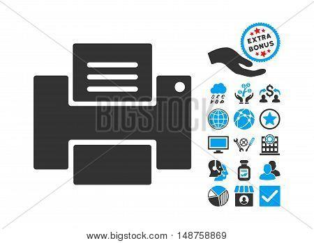 Printer icon with bonus symbols. Glyph illustration style is flat iconic bicolor symbols, blue and gray colors, white background.