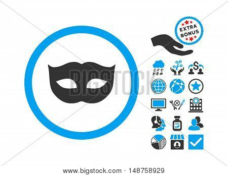 Privacy Mask icon with bonus design elements. Glyph illustration style is flat iconic bicolor symbols, blue and gray colors, white background.