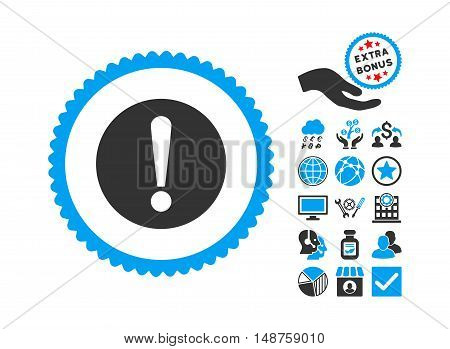Problem pictograph with bonus pictures. Glyph illustration style is flat iconic bicolor symbols, blue and gray colors, white background.