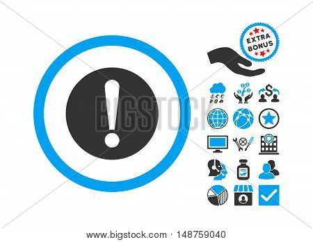 Problem pictograph with bonus elements. Glyph illustration style is flat iconic bicolor symbols, blue and gray colors, white background.