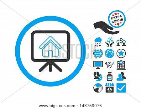Project Slideshow icon with bonus design elements. Glyph illustration style is flat iconic bicolor symbols, blue and gray colors, white background.