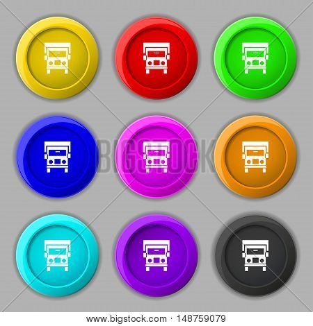 Truck Icon Sign. Symbol On Nine Round Colourful Buttons. Vector