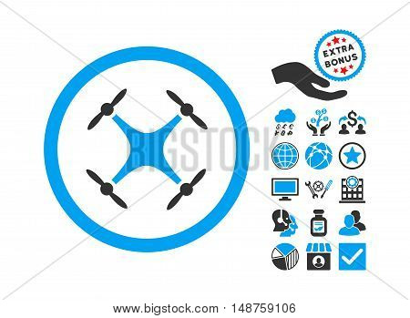 Quadcopter icon with bonus pictograph collection. Glyph illustration style is flat iconic bicolor symbols, blue and gray colors, white background.