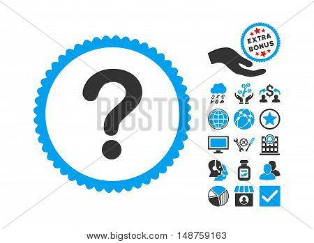 Question icon with bonus design elements. Glyph illustration style is flat iconic bicolor symbols, blue and gray colors, white background.