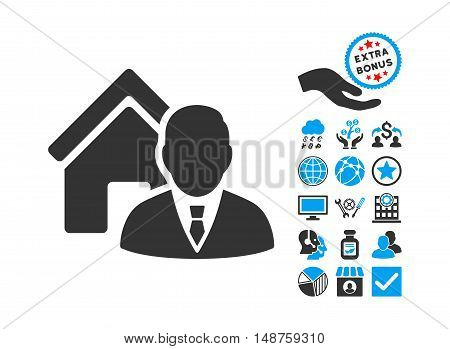 Realtor icon with bonus elements. Glyph illustration style is flat iconic bicolor symbols, blue and gray colors, white background.