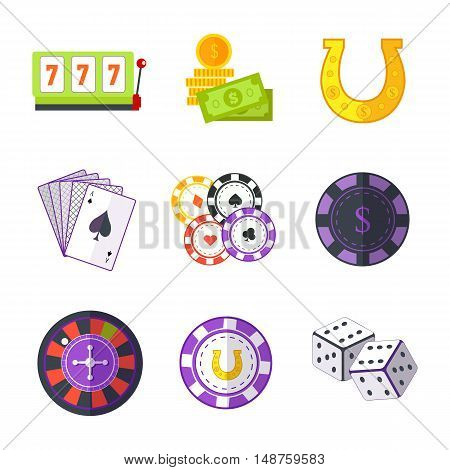 Set of Gambling Accessories vector. Flat style. Slot machine, horseshoe, chips, cards, dice, money, roulette Illustrations for gambling industry, sport lottery services, icons, web pages logo design