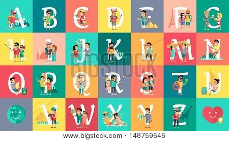 Alphabet vacation concept. Flat design. ABC vector with peoples on vacation. Simple letters and human resting characters collection. Summer leisure and entertainments illustrations. World trip.
