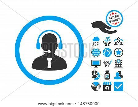 Reception Operator pictograph with bonus elements. Glyph illustration style is flat iconic bicolor symbols, blue and gray colors, white background.