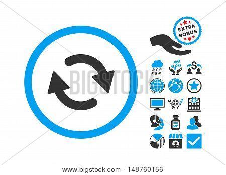Refresh pictograph with bonus design elements. Glyph illustration style is flat iconic bicolor symbols, blue and gray colors, white background.