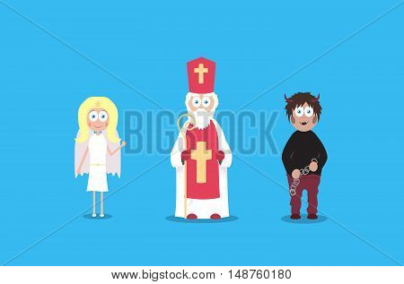 Saint Nicholas with cute angel and scary devil. Cartoon vector charaters. December european holidays.