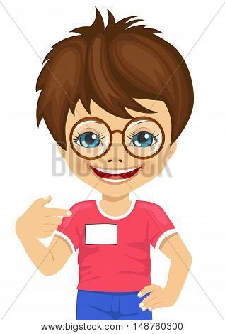 little nerd boy with glasses showing his blank name tag on white background