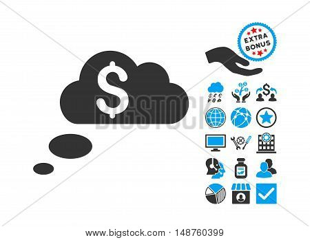 Richness Dream Clouds pictograph with bonus elements. Glyph illustration style is flat iconic bicolor symbols, blue and gray colors, white background.