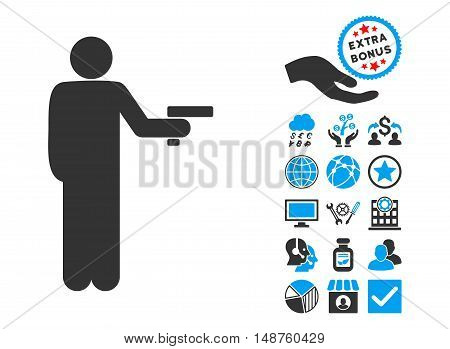 Robber With Gun pictograph with bonus design elements. Glyph illustration style is flat iconic bicolor symbols, blue and gray colors, white background.