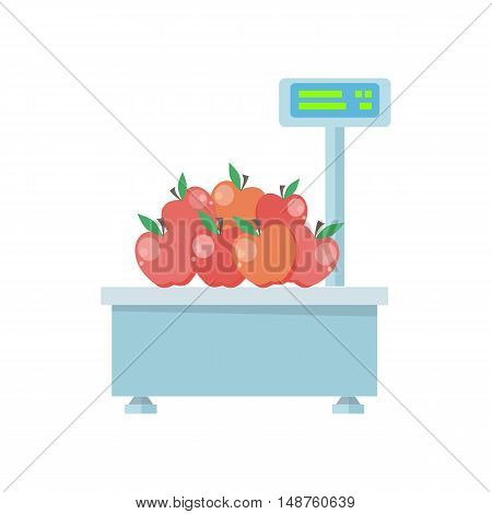 Tray with apples on store scales vector. Flat design. Vegetables in supermarket illustration. Isolated on white background.