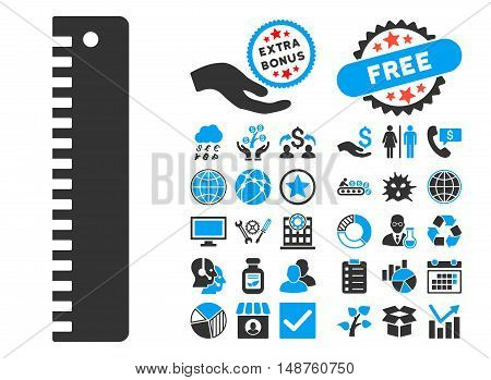 Ruler icon with bonus pictogram. Glyph illustration style is flat iconic bicolor symbols, blue and gray colors, white background.