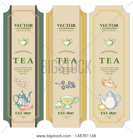 Labels Black tea Fruit tea Green Tea design package ink hand drawn vector