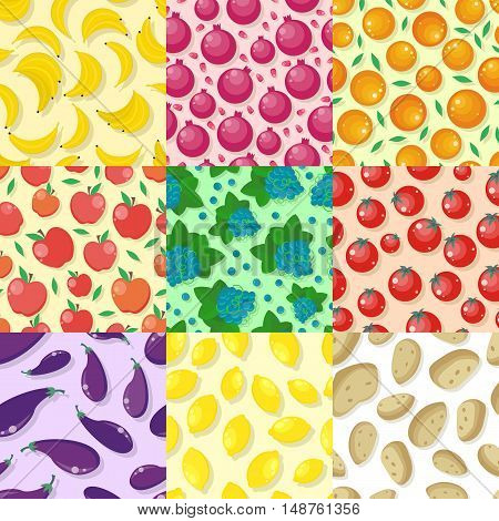 Set of fruits and vegetables seamless pattern vectors. Flat style. Banana, orange, apple, grape, lemon, potatoes, tomatoes, pomegranate, eggplant ornament for wallpapers web design backgrounds