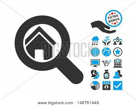 Search House pictograph with bonus images. Glyph illustration style is flat iconic bicolor symbols, blue and gray colors, white background.