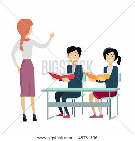 School lesson vector. Flat design. Woman teacher talking with students sitting at desks with books in hands. Children education, pedagogical work, teaching in schools illustrating. Isolated on white.