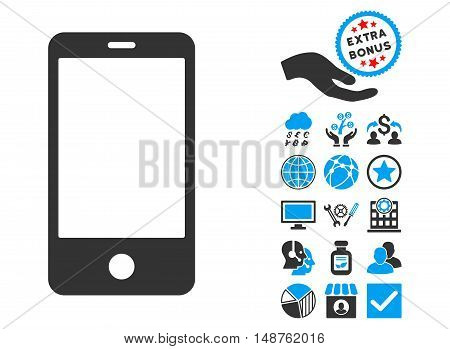 Smartphone pictograph with bonus symbols. Glyph illustration style is flat iconic bicolor symbols, blue and gray colors, white background.
