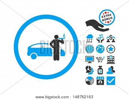 Smoking Taxi Driver pictograph with bonus images. Glyph illustration style is flat iconic bicolor symbols, blue and gray colors, white background.