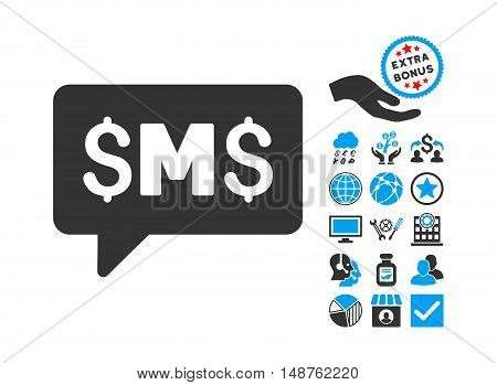 SMS Message icon with bonus pictogram. Glyph illustration style is flat iconic bicolor symbols, blue and gray colors, white background.