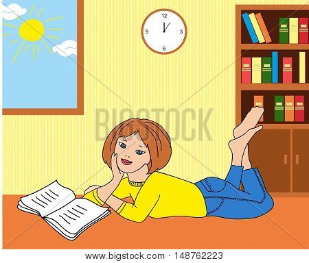 illustration of a girl reading a book lying on the floor