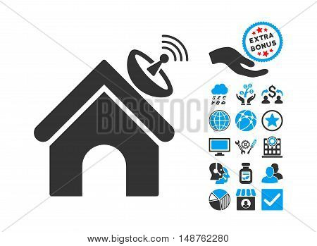 Space Antenna Building pictograph with bonus clip art. Glyph illustration style is flat iconic bicolor symbols, blue and gray colors, white background.
