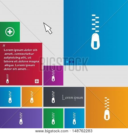 Zipper Icon Sign. Buttons. Modern Interface Website Buttons With Cursor Pointer. Vector