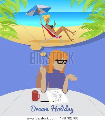 Dream Holiday. Woman sitting on chair dreaming about rest. Girl on beach in her dreams. Women at work.