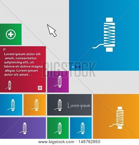 Thread Icon Sign. Buttons. Modern Interface Website Buttons With Cursor Pointer. Vector