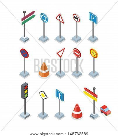 Road and street signs set isolated. Collection of road rule signs. Symbols for traffic regulation. Warnings billboards icons. Board design.
