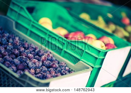 Fruits in Plastic Crates on Sale in the Grocery Store.