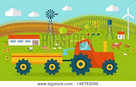 Eco farm conceptual vector. Flat design. Landscape view of traditional ecological farm. Country idyll. Farmyard with domestic animals, houses, machines, windmill, river, fields and garden.
