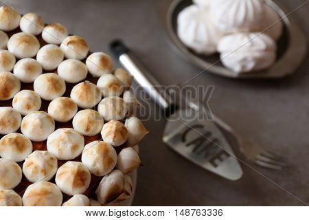 Tasty cake with marshmallow and biscuit