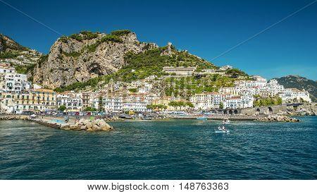 Panorama of Amalfi town in Campania Italy