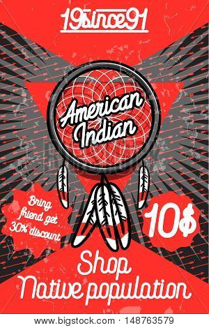 Color vintage american indian poster for your design. Vector illustration, EPS 10