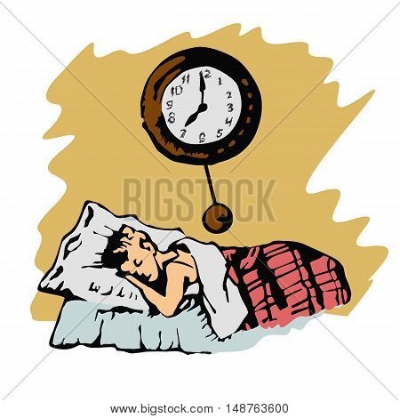 color sketch of boy sleeps in the bed and a clock on wall