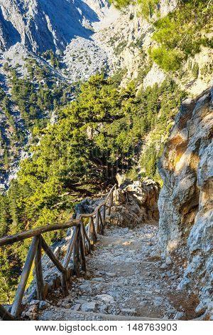 view of Samaria Gorge in central Crete Greece
