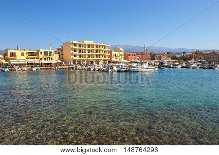 View of the old harbor in Chania Greece