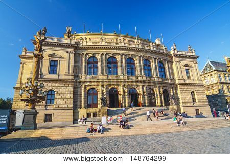 PRAGUE CZECH REPUBLIC - September 19 2011: The building of Rudolfiunum concert halls on Jan Palach Square with unidentified people Prague Chech Republic