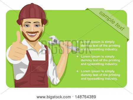 worker man wearing a safety hard hat with wrench showing thumbs up in front of green blank board
