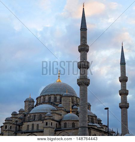 New Mosque in Istanbul, Turkey. The Yeni Camii, originally named the Valide Sultan Mosque and later New Valide Sultan Mosque after its partial reconstruction and completion between 1660 and 1665.