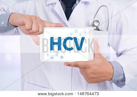 HCV Doctor holding digital tablet doctor work hard